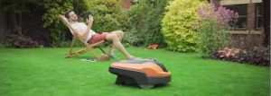 Relaxing With A Robot Lawnmower